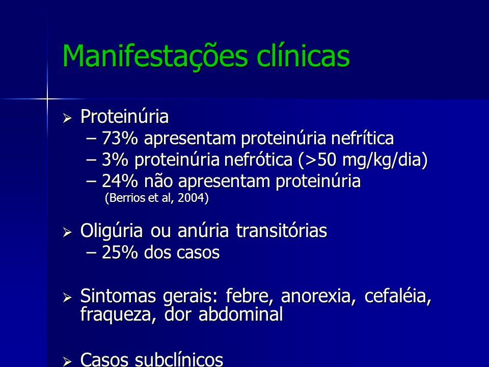 Manifestações clínicas Proteinúria Proteinúria –73% apresentam proteinúria nefrítica –3% proteinúria nefrótica (>50 mg/kg/dia) –24% não apresentam pro