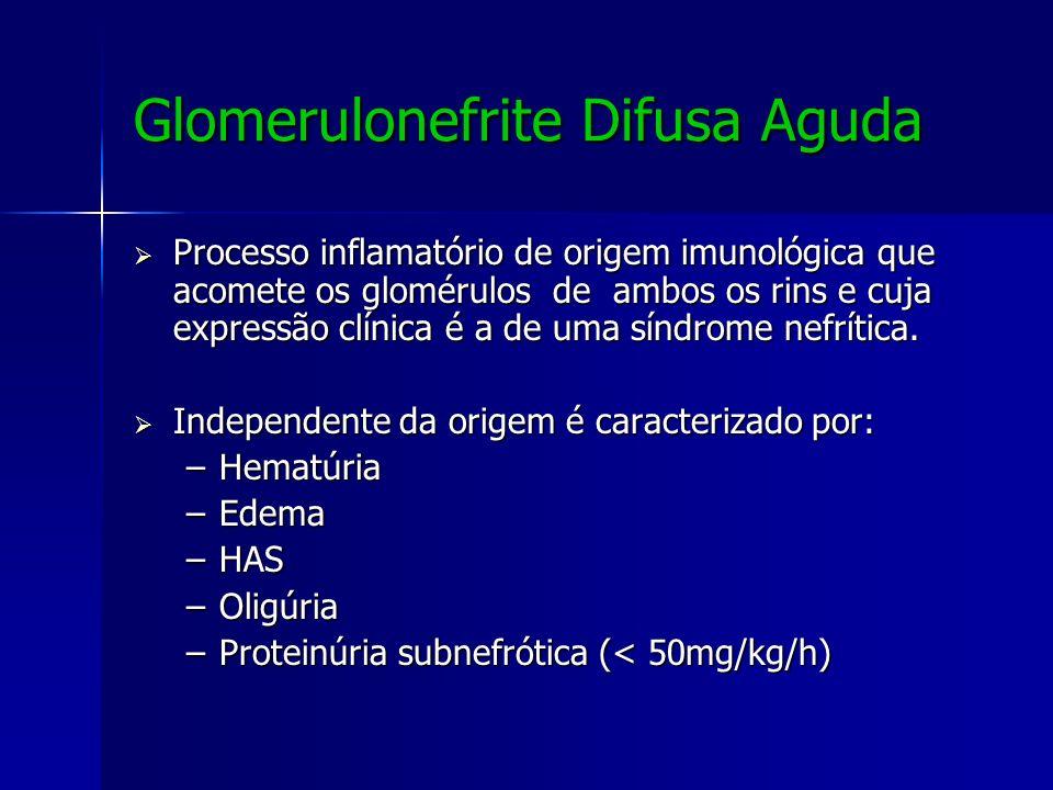 Glomerulonefrite Difusa Aguda Processo inflamatório de origem imunológica que acomete os glomérulos de ambos os rins e cuja expressão clínica é a de u