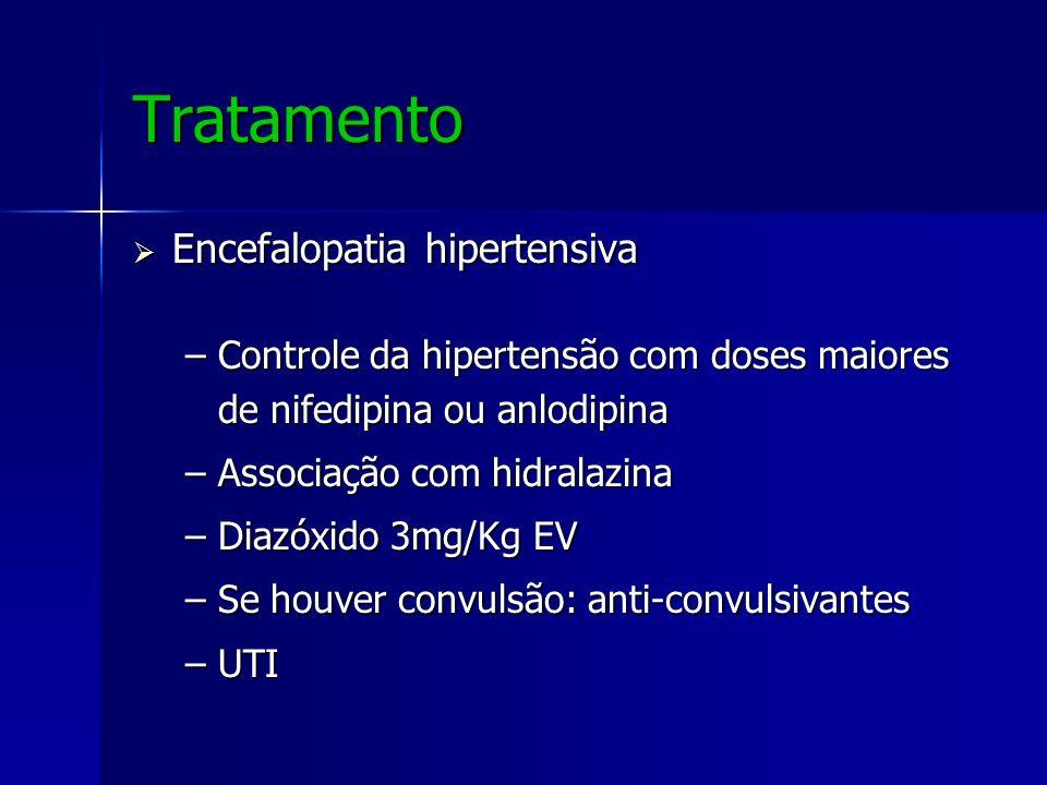 Tratamento Encefalopatia hipertensiva Encefalopatia hipertensiva –Controle da hipertensão com doses maiores de nifedipina ou anlodipina –Associação co