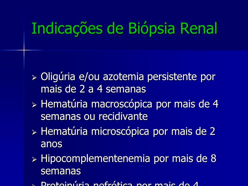 Indicações de Biópsia Renal Oligúria e/ou azotemia persistente por mais de 2 a 4 semanas Oligúria e/ou azotemia persistente por mais de 2 a 4 semanas