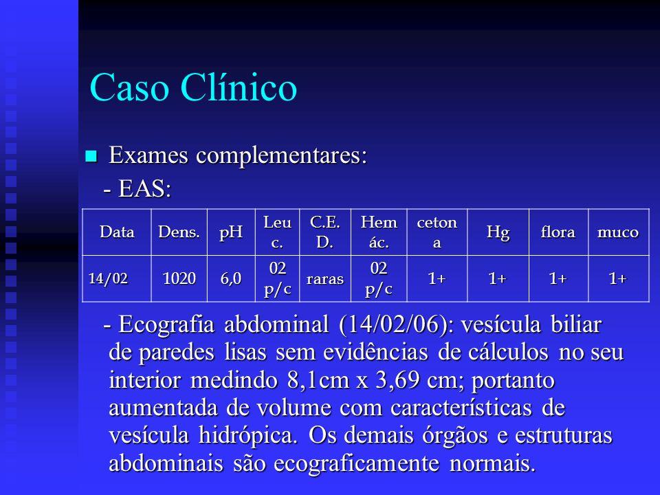 Caso Clínico Exames complementares: Exames complementares: - EAS: - EAS: - Ecografia abdominal (14/02/06): vesícula biliar de paredes lisas sem evidências de cálculos no seu interior medindo 8,1cm x 3,69 cm; portanto aumentada de volume com características de vesícula hidrópica.