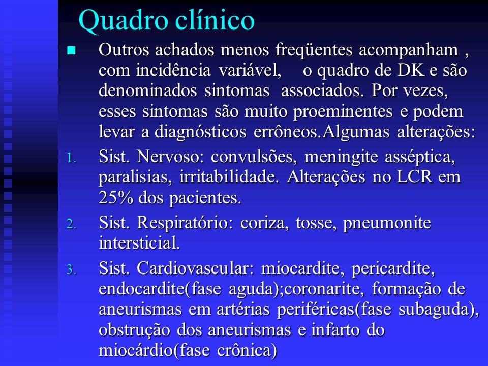 Quadro clínico Outros achados menos freqüentes acompanham, com incidência variável, o quadro de DK e são denominados sintomas associados.