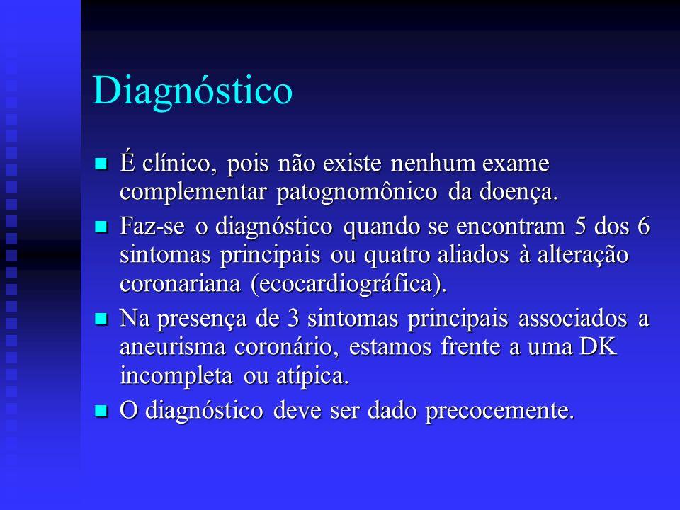 Diagnóstico É clínico, pois não existe nenhum exame complementar patognomônico da doença.