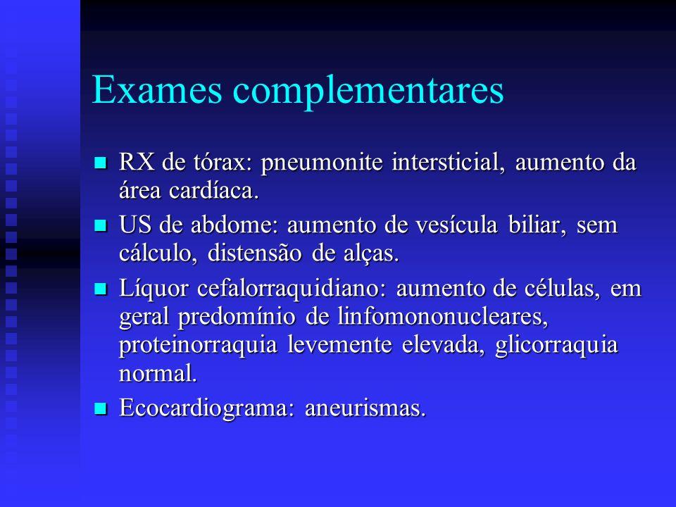 Exames complementares RX de tórax: pneumonite intersticial, aumento da área cardíaca.