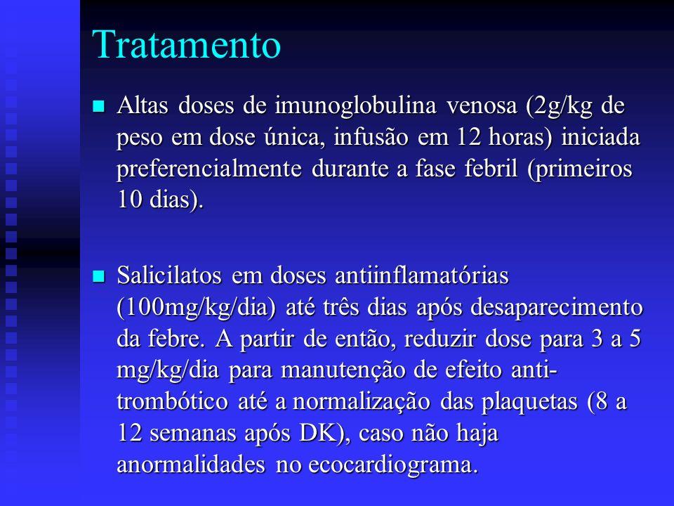 Tratamento Altas doses de imunoglobulina venosa (2g/kg de peso em dose única, infusão em 12 horas) iniciada preferencialmente durante a fase febril (primeiros 10 dias).