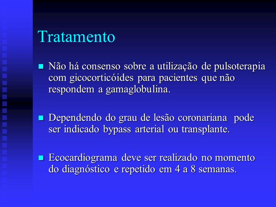 Tratamento Não há consenso sobre a utilização de pulsoterapia com gicocorticóides para pacientes que não respondem a gamaglobulina.