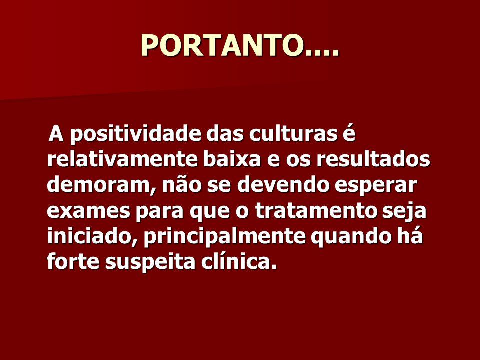 PORTANTO.... A positividade das culturas é relativamente baixa e os resultados demoram, não se devendo esperar exames para que o tratamento seja inici