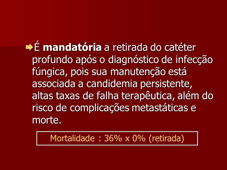 É mandatória a retirada do catéter profundo após o diagnóstico de infecção fúngica, pois sua manutenção está associada a candidemia persistente, altas