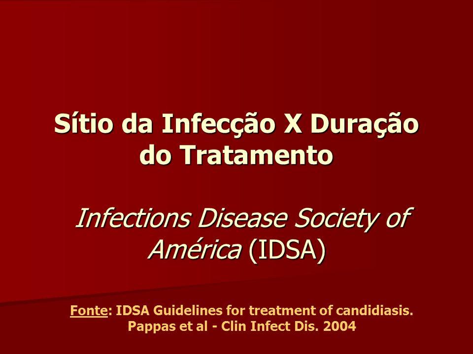 Sítio da Infecção X Duração do Tratamento Infections Disease Society of América (IDSA) Fonte: IDSA Guidelines for treatment of candidiasis. Pappas et