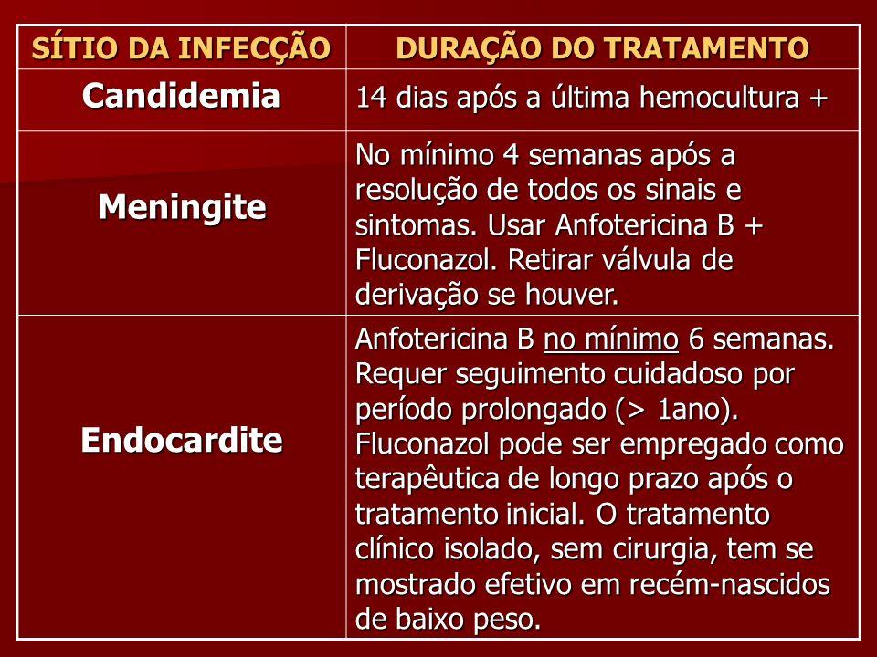 SÍTIO DA INFECÇÃO DURAÇÃO DO TRATAMENTO Candidemia 14 dias após a última hemocultura + Meningite No mínimo 4 semanas após a resolução de todos os sina