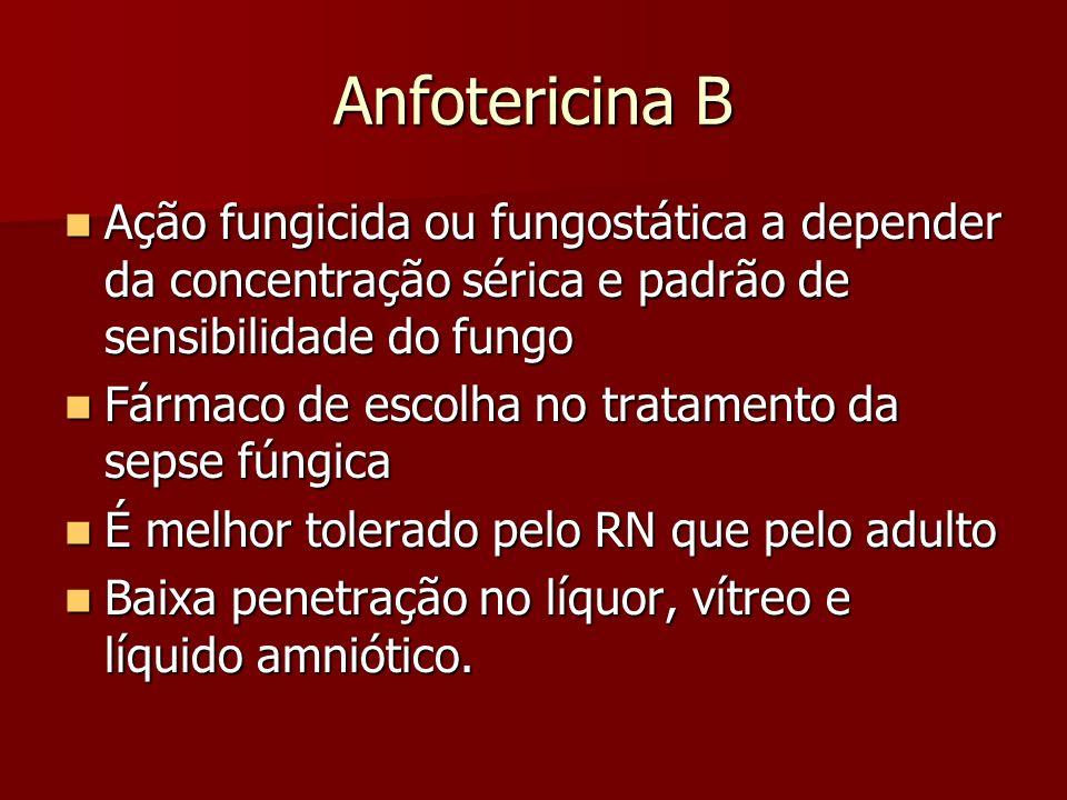 Anfotericina B Ação fungicida ou fungostática a depender da concentração sérica e padrão de sensibilidade do fungo Ação fungicida ou fungostática a de
