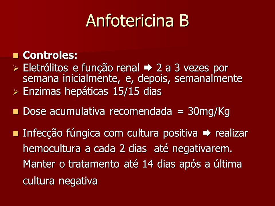Anfotericina B Controles: Controles: Eletrólitos e função renal 2 a 3 vezes por semana inicialmente, e, depois, semanalmente Eletrólitos e função rena