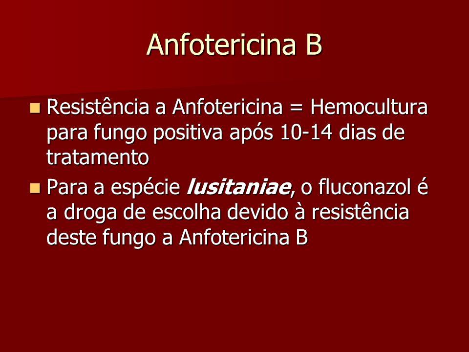 Anfotericina B Resistência a Anfotericina = Hemocultura para fungo positiva após 10-14 dias de tratamento Resistência a Anfotericina = Hemocultura par