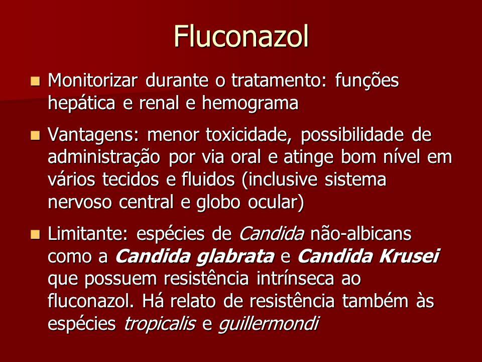 Fluconazol Monitorizar durante o tratamento: funções hepática e renal e hemograma Monitorizar durante o tratamento: funções hepática e renal e hemogra