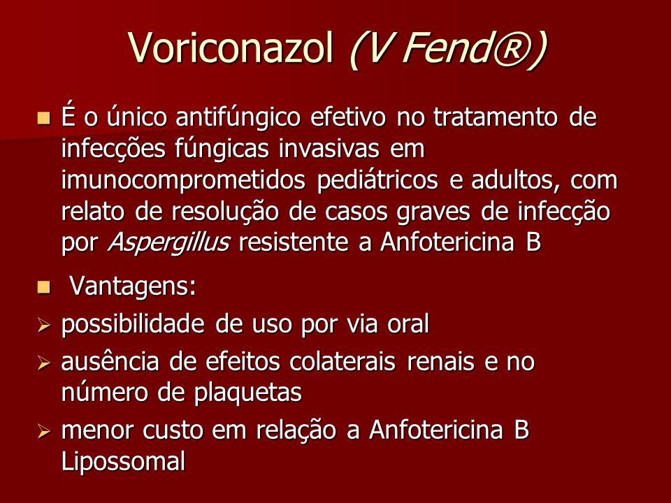 Voriconazol (V Fend®) É o único antifúngico efetivo no tratamento de infecções fúngicas invasivas em imunocomprometidos pediátricos e adultos, com rel