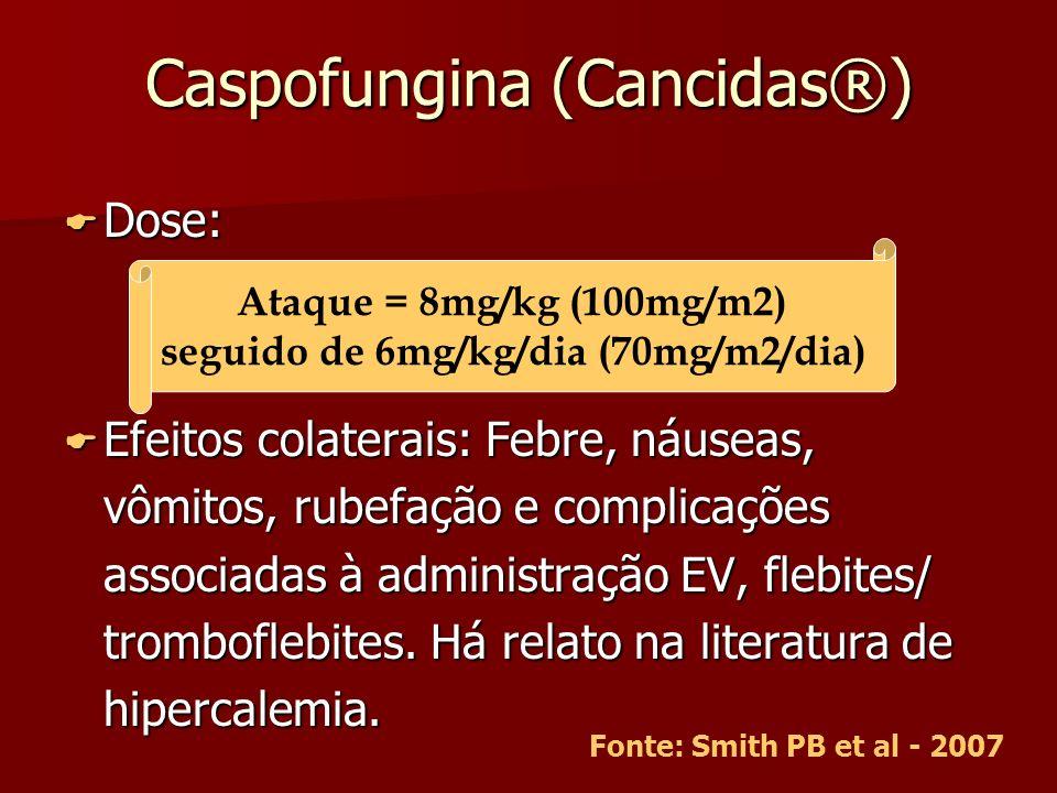 Caspofungina (Cancidas®) Dose: Dose: Efeitos colaterais: Febre, náuseas, vômitos, rubefação e complicações associadas à administração EV, flebites/ tr