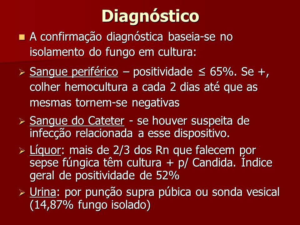 Diagnóstico A confirmação diagnóstica baseia-se no isolamento do fungo em cultura: A confirmação diagnóstica baseia-se no isolamento do fungo em cultu