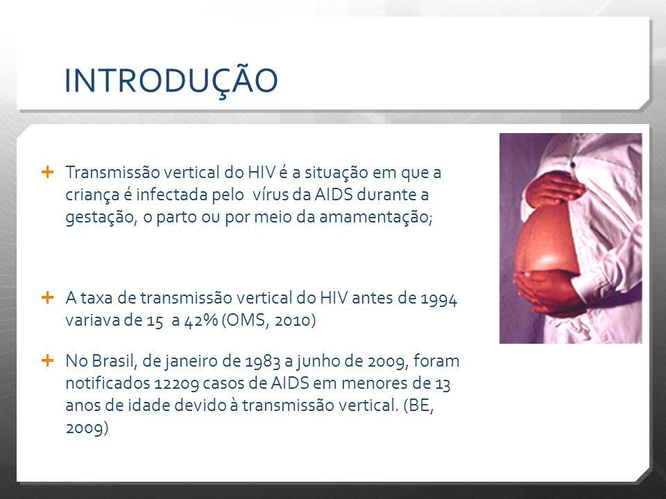 INTRODUÇÃO Transmissão vertical do HIV é a situação em que a criança é infectada pelo vírus da AIDS durante a gestação, o parto ou por meio da amament