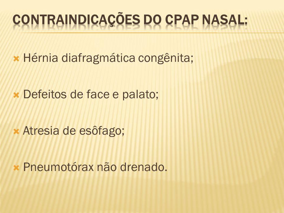 Hérnia diafragmática congênita; Defeitos de face e palato; Atresia de esôfago; Pneumotórax não drenado.