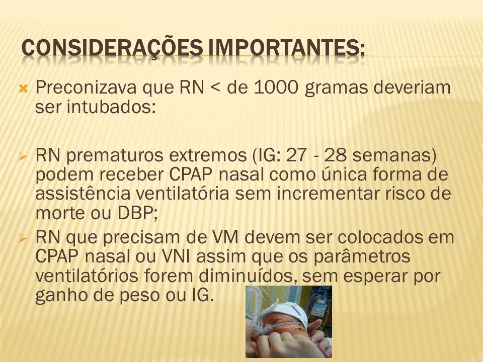 Preconizava que RN < de 1000 gramas deveriam ser intubados: RN prematuros extremos (IG: 27 - 28 semanas) podem receber CPAP nasal como única forma de