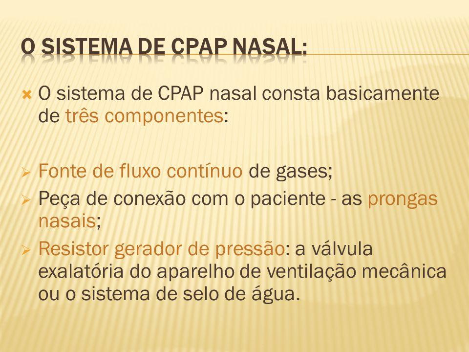 O sistema de CPAP nasal consta basicamente de três componentes: Fonte de fluxo contínuo de gases; Peça de conexão com o paciente - as prongas nasais;
