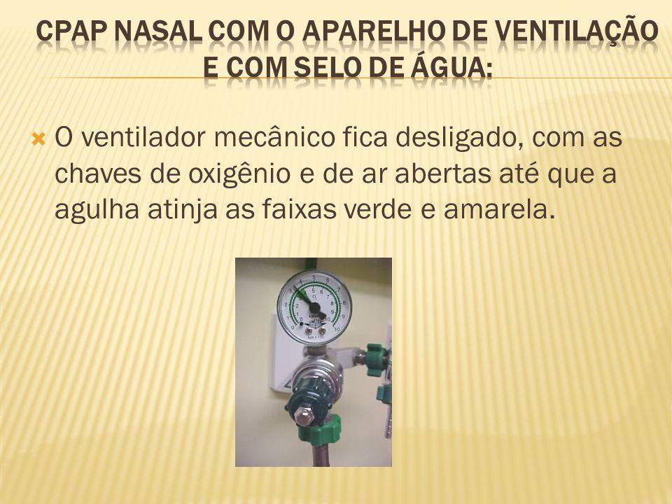 O ventilador mecânico fica desligado, com as chaves de oxigênio e de ar abertas até que a agulha atinja as faixas verde e amarela.