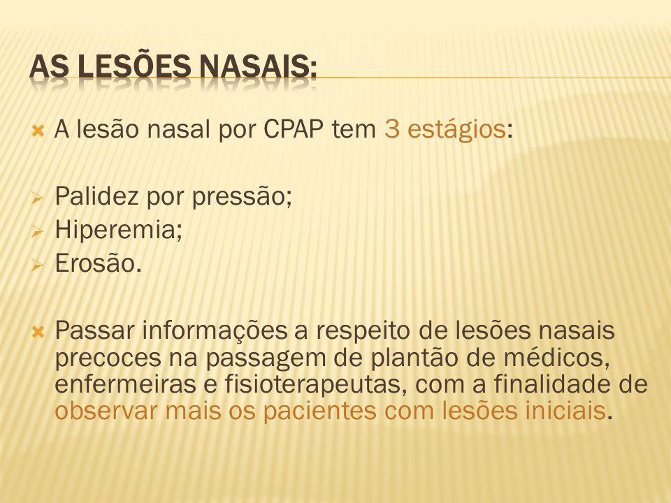 A lesão nasal por CPAP tem 3 estágios: Palidez por pressão; Hiperemia; Erosão. Passar informações a respeito de lesões nasais precoces na passagem de