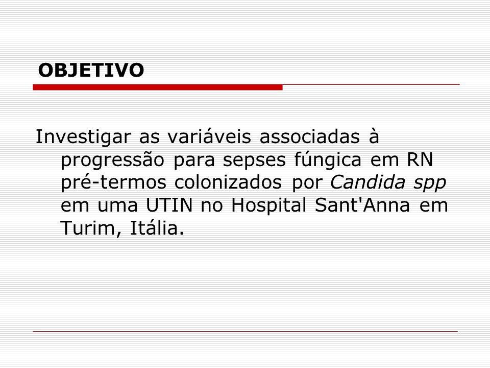 Investigar as variáveis associadas à progressão para sepses fúngica em RN pré-termos colonizados por Candida spp em uma UTIN no Hospital Sant Anna em Turim, Itália.