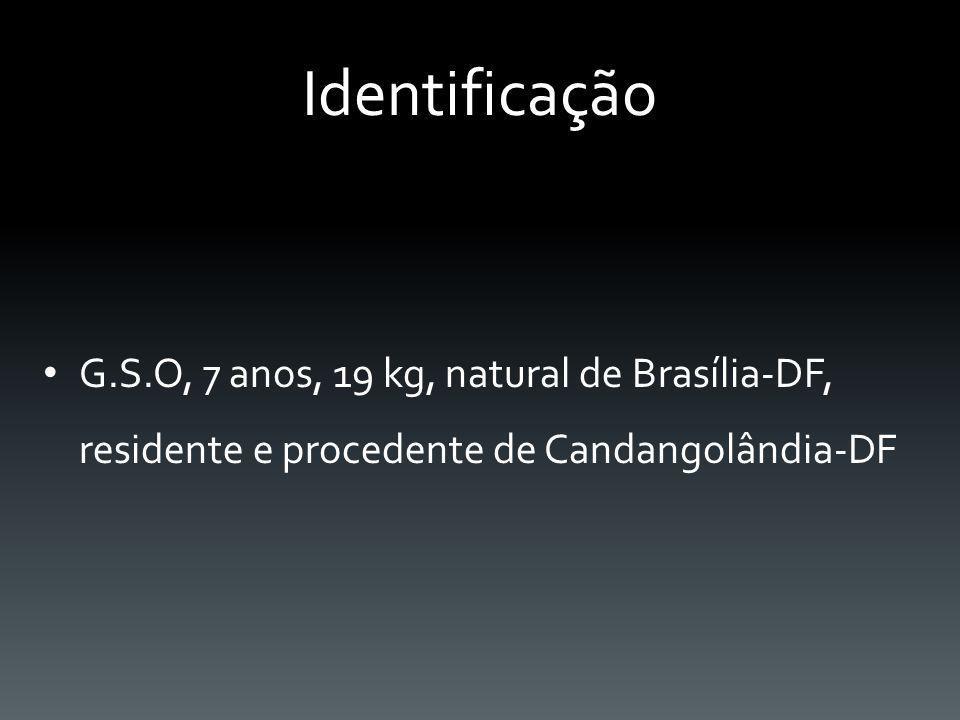 Identificação G.S.O, 7 anos, 19 kg, natural de Brasília-DF, residente e procedente de Candangolândia-DF