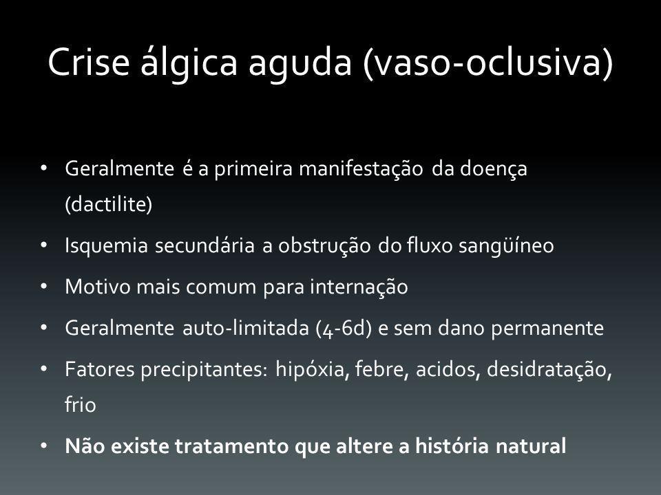 Crise álgica aguda (vaso-oclusiva) Geralmente é a primeira manifestação da doença (dactilite) Isquemia secundária a obstrução do fluxo sangüíneo Motiv