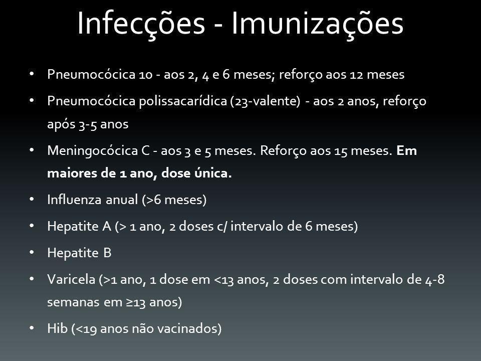 Infecções - Imunizações Pneumocócica 10 - aos 2, 4 e 6 meses; reforço aos 12 meses Pneumocócica polissacarídica (23-valente) - aos 2 anos, reforço apó