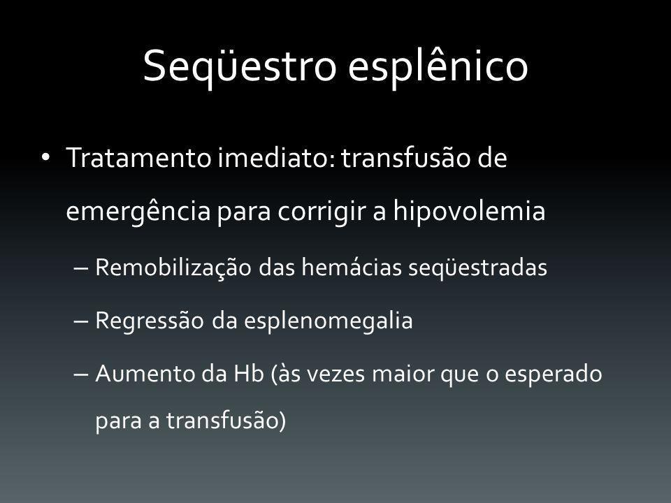 Seqüestro esplênico Tratamento imediato: transfusão de emergência para corrigir a hipovolemia – Remobilização das hemácias seqüestradas – Regressão da