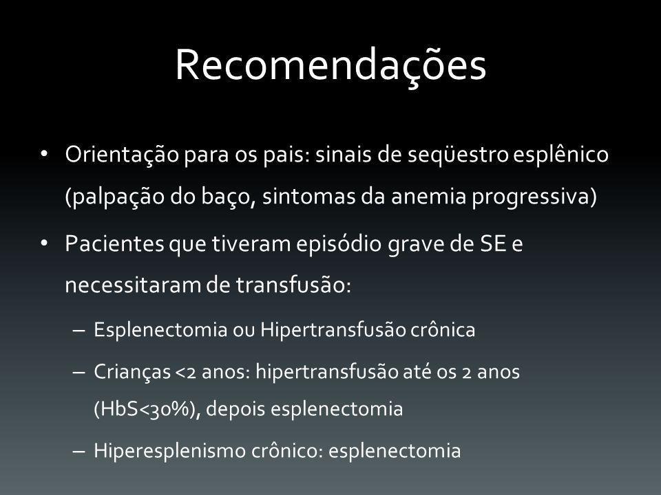 Recomendações Orientação para os pais: sinais de seqüestro esplênico (palpação do baço, sintomas da anemia progressiva) Pacientes que tiveram episódio