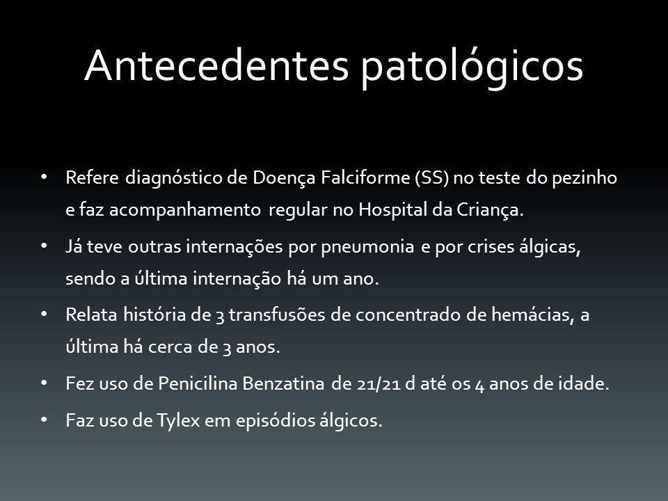 HEMOGRAMA COMPLETO Data: 01/06/2012ResultadoValor de Referência Hemáceas1,924,5 - 5,5 M Hemoglobina6,313,5 - 14,5 Hematócrito16,7%40 - 50 VCM8782 - 92 HCM32,828 - 30 CHCM37,732 - 36 RDW19,6%12 - 17 Drepanócitos(+++) Leucócitos19.9004.000 - 14.000 Bastonetes2%0 - 4% Segmentados59%30 - 60% Eosinófilos1%1 - 5% Monócitos7%2 - 10% Linfócitos31%30 - 70% Plaquetas425.000150.000 - 450.000
