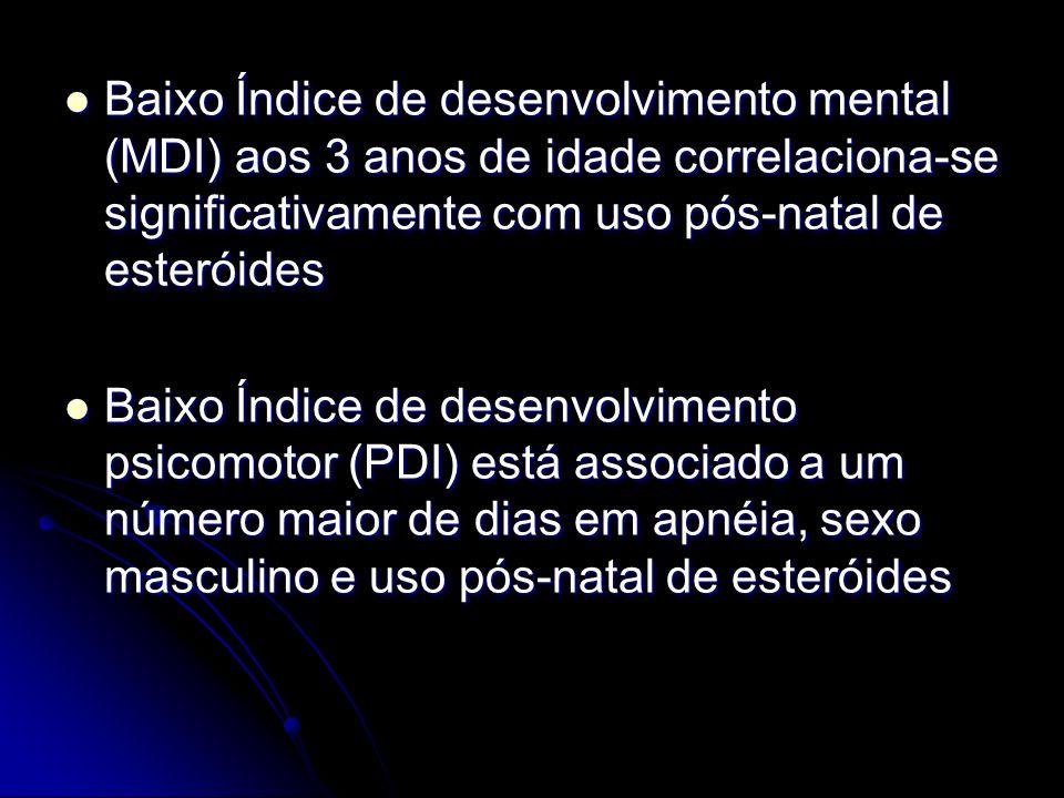 Baixo Índice de desenvolvimento mental (MDI) aos 3 anos de idade correlaciona-se significativamente com uso pós-natal de esteróides Baixo Índice de de