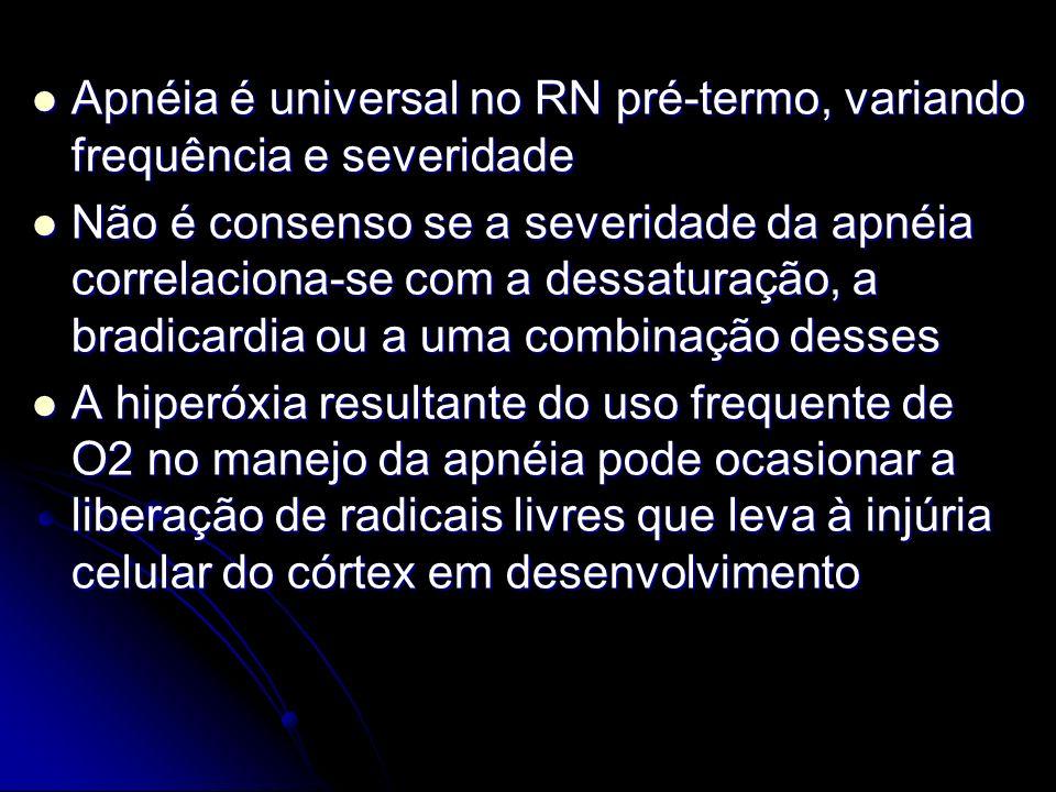 Apnéia é universal no RN pré-termo, variando frequência e severidade Apnéia é universal no RN pré-termo, variando frequência e severidade Não é consen