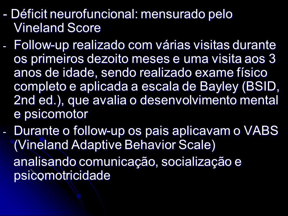 - Déficit neurofuncional: mensurado pelo Vineland Score - Follow-up realizado com várias visitas durante os primeiros dezoito meses e uma visita aos 3