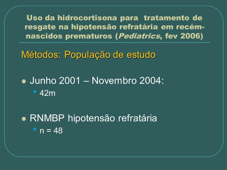 Uso da hidrocortisona para tratamento de resgate na hipotensão refratária em recém- nascidos prematuros (Pediatrics, fev 2006) Métodos: População de e