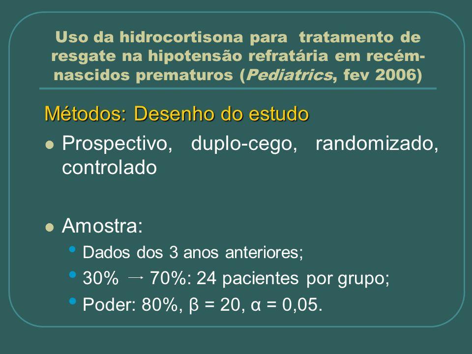 Uso da hidrocortisona para tratamento de resgate na hipotensão refratária em recém- nascidos prematuros (Pediatrics, fev 2006) Métodos: Desenho do est