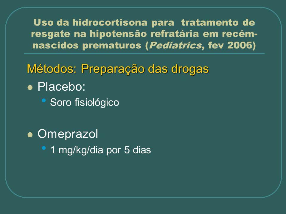Uso da hidrocortisona para tratamento de resgate na hipotensão refratária em recém- nascidos prematuros (Pediatrics, fev 2006) Métodos: Preparação das