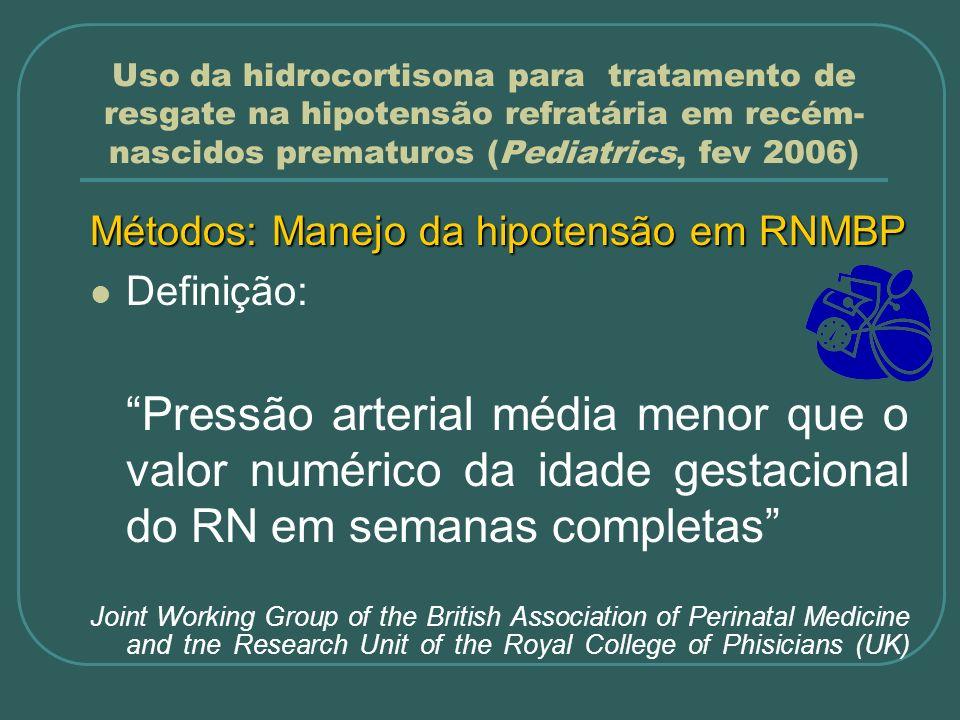Uso da hidrocortisona para tratamento de resgate na hipotensão refratária em recém- nascidos prematuros (Pediatrics, fev 2006) Métodos: Manejo da hipo