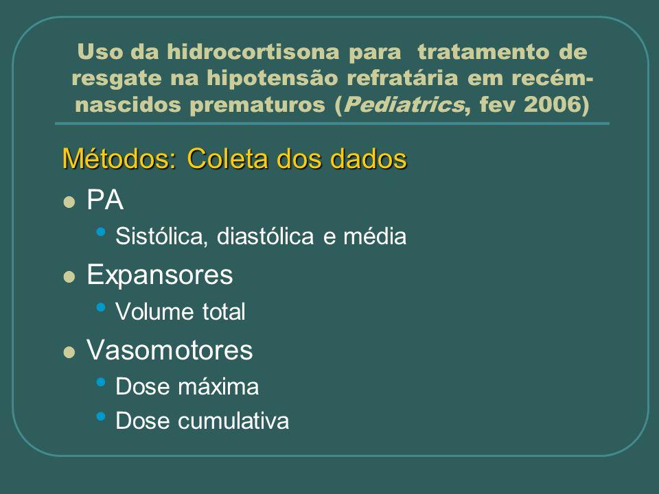 Uso da hidrocortisona para tratamento de resgate na hipotensão refratária em recém- nascidos prematuros (Pediatrics, fev 2006) Métodos: Coleta dos dad