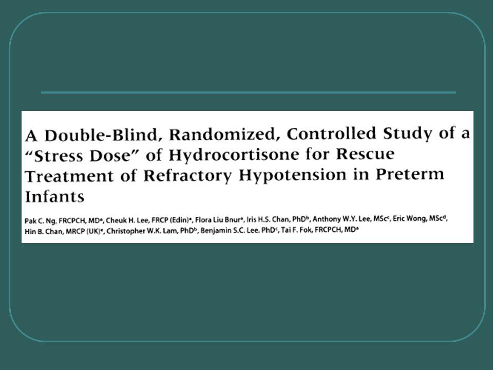 Uso da hidrocortisona para tratamento de resgate na hipotensão refratária em recém- nascidos prematuros (Pediatrics, fev 2006) Objetivo: hidrocortisona resgatehipotensão refratáriaadrenocortical RNMBP Avaliar a efetividade da hidrocortisona no tratamento de resgate na hipotensão refratária e na insuficiência adrenocortical em recém-nascidos de muito baixo peso (RNMBP).