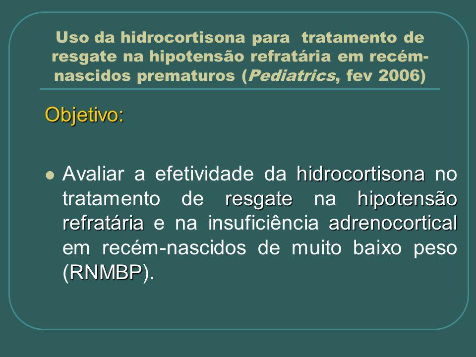 Uso da hidrocortisona para tratamento de resgate na hipotensão refratária em recém- nascidos prematuros (Pediatrics, fev 2006) Métodos: População de estudo Considerações: Corticóide pré-natal; Dexametasona 4 doses IV de 6mg 12/12h Surfactante - Survanta® Intubação + VPP 2 doses de 4 ml/kg 12/12h Indometacina TTO resgate HIV 0,1mg/kg IV 6/6h – 24/24h