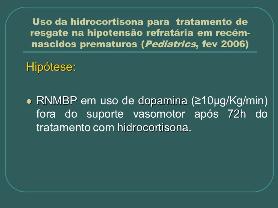 Uso da hidrocortisona para tratamento de resgate na hipotensão refratária em recém- nascidos prematuros (Pediatrics, fev 2006) Métodos: Desenho do estudo Prospectivo, duplo-cego, randomizado, controlado Amostra: Dados dos 3 anos anteriores; 30% 70%: 24 pacientes por grupo; Poder: 80%, β = 20, α = 0,05.
