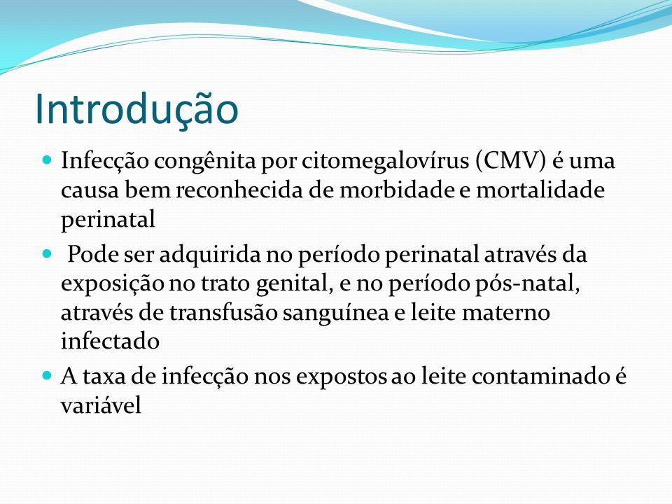 Discussão 78% dos RN estavam em risco para transmissão do CMV pois suas mães eram IgG + 32% dos RN foram alimentados com leite CMV + e 11% foram infectados A infecção neonatal foi leve, rápida e não deixou sequelas A incidência de DNA do CMV no leite materno é igual a materna.