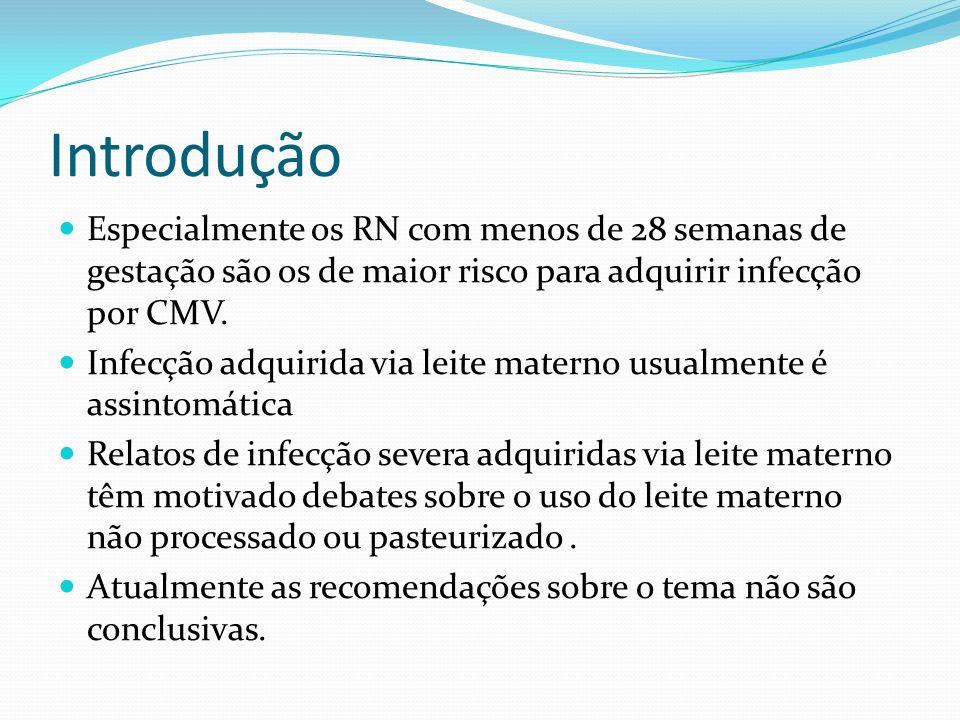 Introdução Especialmente os RN com menos de 28 semanas de gestação são os de maior risco para adquirir infecção por CMV. Infecção adquirida via leite