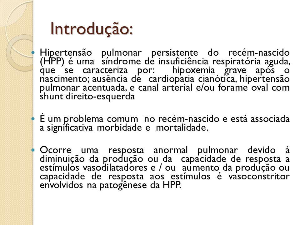 Introdução: Hipertensão pulmonar persistente do recém-nascido (HPP) é uma síndrome de insuficiência respiratória aguda, que se caracteriza por: hipoxe
