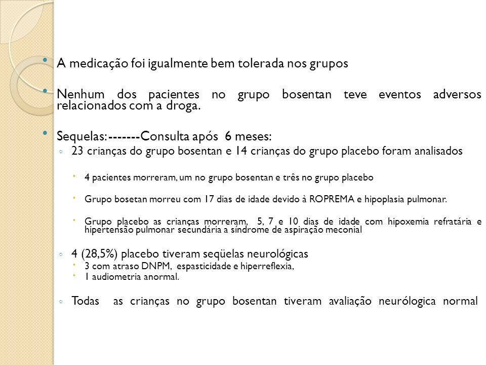 A medicação foi igualmente bem tolerada nos grupos Nenhum dos pacientes no grupo bosentan teve eventos adversos relacionados com a droga. Sequelas: --