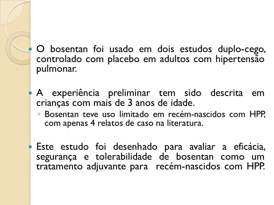 O bosentan foi usado em dois estudos duplo-cego, controlado com placebo em adultos com hipertensão pulmonar. A experiência preliminar tem sido descrit